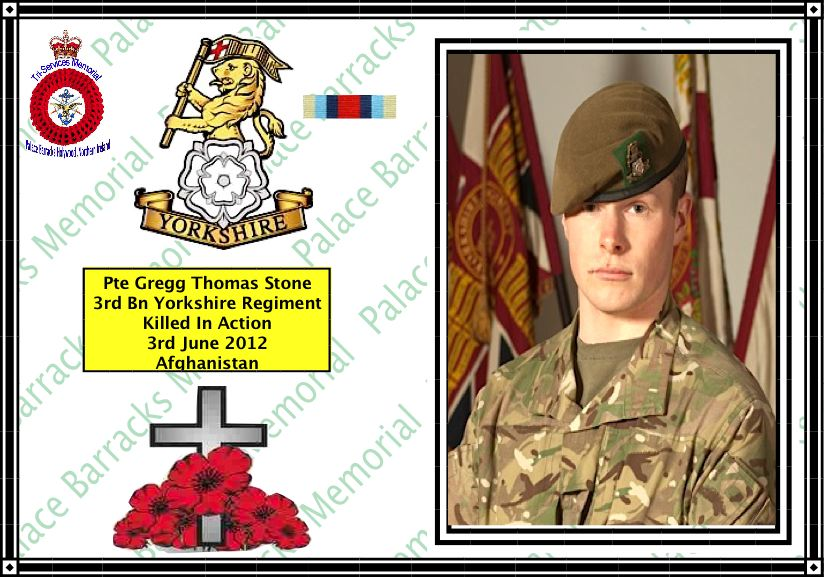 Private Gregg Thomas Stone killed in Afghanistan 3rd JUNE 2012