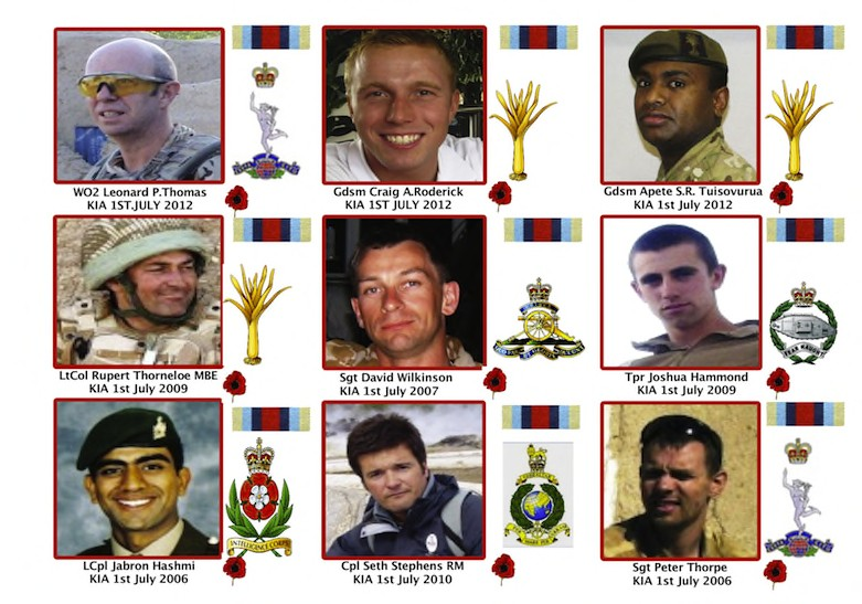 9 Soldiers Killed in Afghan 1st July 2006/2007/2009/2010/2012