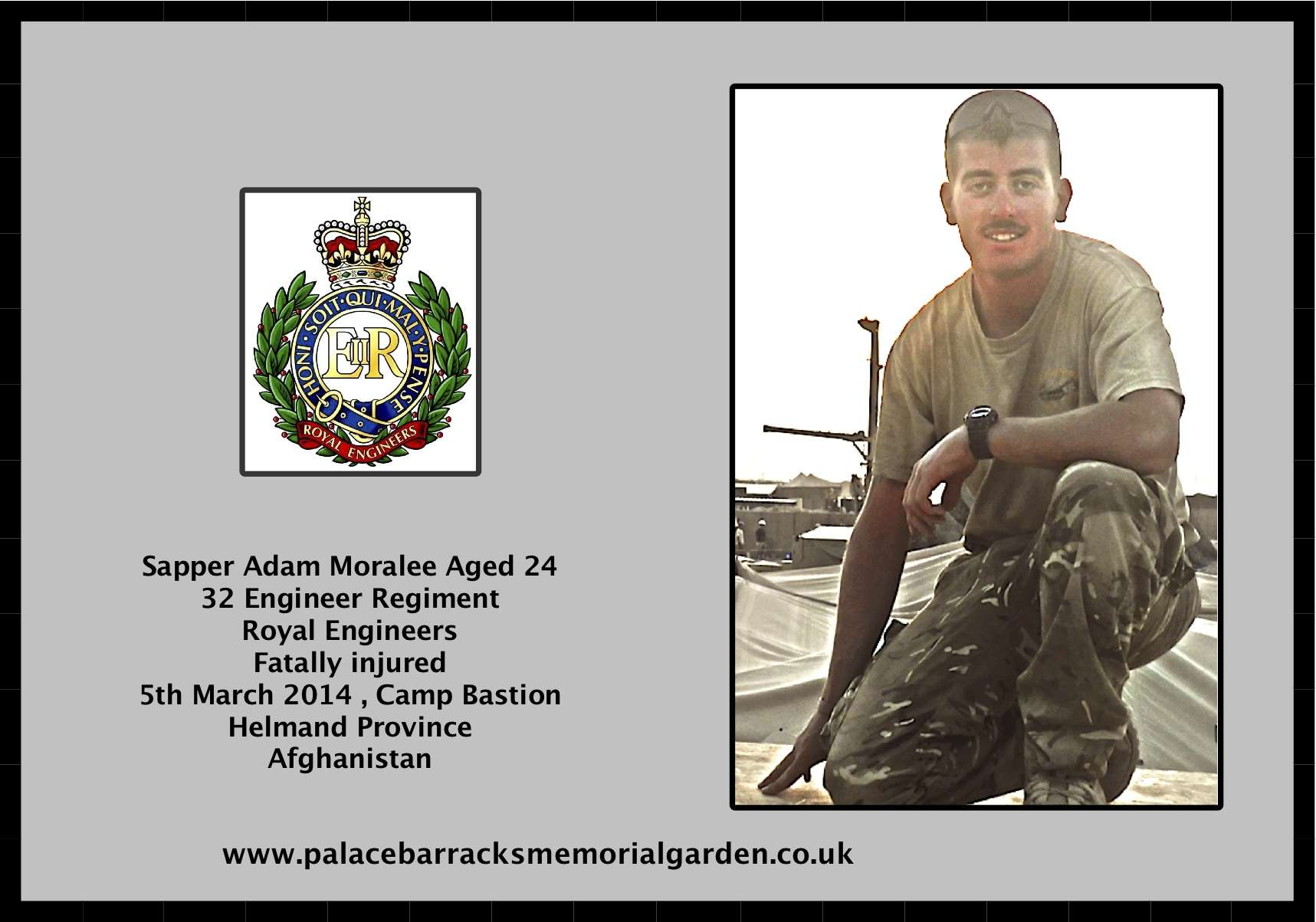 Royal Engineer Sapper Fatally Injured in Afghanistan 05 March 2014